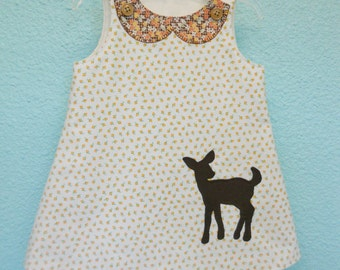 Toddler dress in size 3 years, Eco fashion, deer applique, deer dress, baby dress, girls dress with vintage floral fabric and deer applique