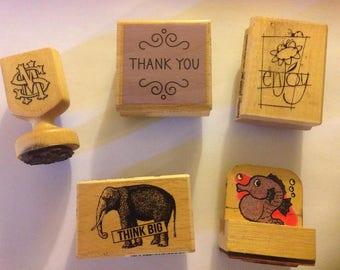 Lot of 5 Unique Rubber Stamps