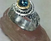 Rose Cut Diamond Statement Ring, Blue Diamond Solitaire Ring,  22 kt yellow  gold , silver  and Diamond ring