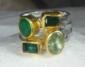 Gemstone Stacking ring set , Solid 22kt yellow gold, silver tourmaline and emerald rings,  multistone rings