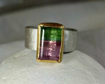 Watermelon Tourmaline Ring, Solitaire Ring, silver and 22 kt yellow gold ring,  Tourmaline stone ring