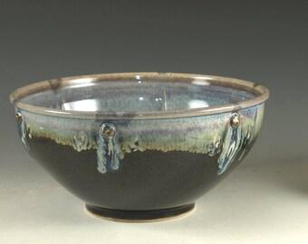 Ceramic food prep bowl ,  tenmoku black and blue