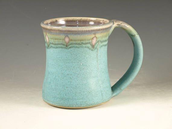 Coffee Mug Cup ,large ceramic mugs with large Handle, turquoise,  wheel thown (20oz) -- Perfect Hot & Chocolate
