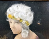 Vintage antique collage art framed 8 x 10 figure woman female cut and paste fabric lace chain flowers