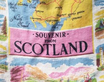 Souvenir of Scotland scenes vintage tea towel all linen 19 x 30 inches