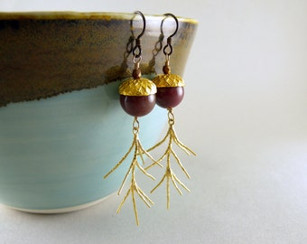 Earthy Auburn Red Jasper with Gold Acorns and Pine Needles Earrings with Free USA Shipping