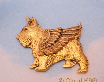 SCOTTIE Dog Guardian ANGEL PIN. Scottie Jewelry for Dog Lovers by Cloud K9 ( Scottish Terrier Brooch. Scotty Dog Pin)
