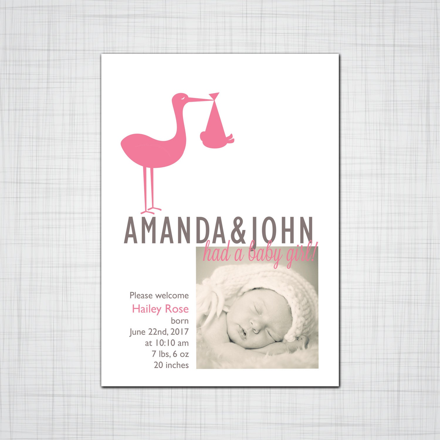 Stork Baby Shower Invitation Stork with a Baby Bundle – Stork Birth Announcement