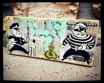 Cops and Robbers Graffiti Painting on Canvas Pop Art Style Original Artwork Stencil Urban Street Art Home Decor