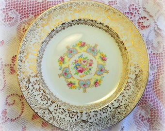 ViNTaGE Floral CaKE PLaTeS ~ 2 Plates ~ HeARTS and ROSES ~ Wedding, Tea Party, mismatched china dessert