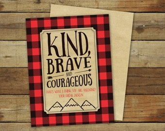 Lumberjack Valentine's Day cards, Kind brave and courageous boy valentine with buffalo plaid, printable, editable pdf, instant download