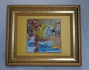 Oriental Budda - encaustic wax painting