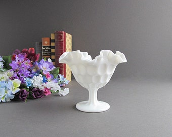 Vintage Milk Glass Thumbprint Compote, Thumbprint Bowl, Footed Bowl, Pedestal Bowl, Wedding Candy Bar Bowl, Candy Dish, Serving Dish