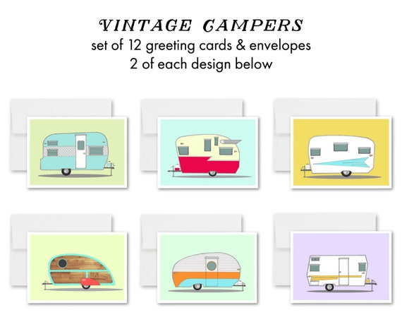 "greeting cards, greeting card set, blank inside, retro campers, vintage campers, vintage trailers, mid century modern - ""Vintage Campers"""