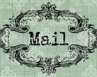 Digital Download, Mail Label, Flourish Baroque style, Transparent png, Antique Vintage Illustration, Frame Border