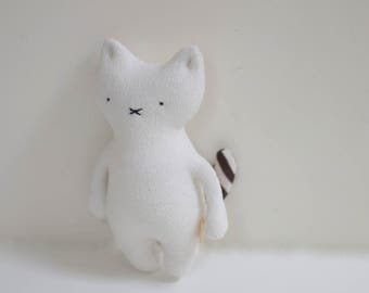 handmade small Cat doll soft toy fabric handmade stuffed white cat upcycled fleece kids eco-friendly plush toy bubynoa CAT & BUNNY