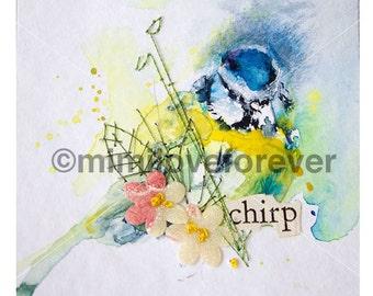 Bird Art. Blue Tit Watercolour Painting. Hand embroidery. Original Unique artwork. Framed.