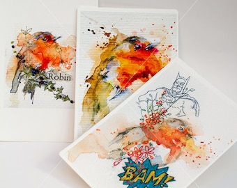 Robin Watercolour Prints 3 Pack. Robin Bird Prints. Robin Red Breast. Christmas Robins. Watercolour Postcards. Unique stocking filler