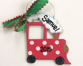 Red Train Ornament - My 1st Christmas ornament - personalized - baby ornament - painted Christmas ornament - wood ornament - baby gift - boy