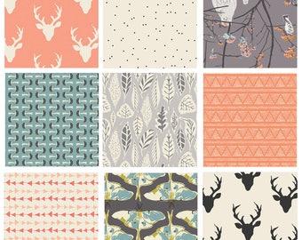 9 FABRIC QUILTING BUNDLE - Hello, Bear - Blithe - Art Gallery - Bonnie Christine - Woodland Fabric Collection - Deer Mushrooms Moths Owls