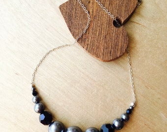 Dark Grey Pearl and Black Crystal Necklace - Modern Pearl Necklace