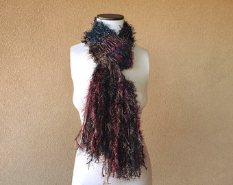 Metallic Steampunk Scarf with Iron, Steel, Brown, Copper, Black Cherry Red Long Steam Punk Scarf with Fringe Grey and Brown Scarf