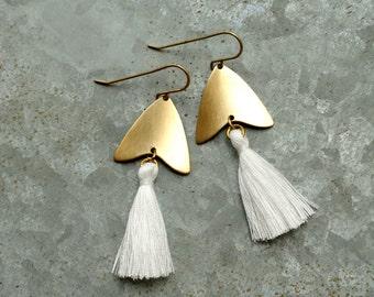 Arrow and Tassel Earrings, White Tassel Earrings, Tassel Dangle Earrings