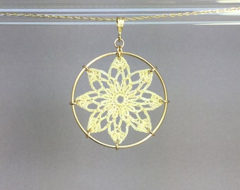 Tavita doily necklace, ivory hand-dyed cotton thread, 14K gold-filled