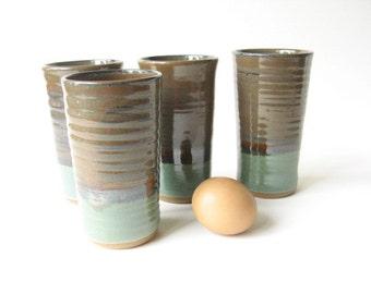 Set of Pottery Tumblers, Ceramic Glasses, Stoneware Tumblers, Set of 4, Handleless Mugs, Handmade Tumblers,