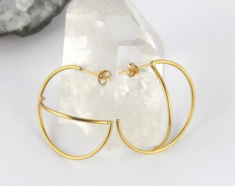 Gold Hoop Earrings. Space Earrings. Asymmetric Earrings. Handmade Jewellery. Bohemian Jewelry. Statment Earrings. Constellation.