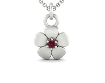 January Birthstone Necklace with Flower Pendant in 14k Gold -Genuine Garnet Necklace for Mom or Grandma-Laurie Sarah Flower Jewelry - LS4645