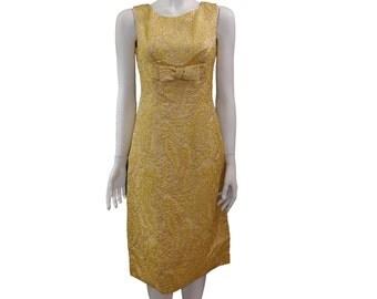 Vintage Light Golden Dress // Luxury  Evening  Dress// Golden Bow Tank Dress// 130