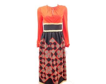 60s Holiday Dress // Mollie Parnis Designer Party Dress// Embroidered Floral Golden Fringe Black and Red Dress// Size S// 138