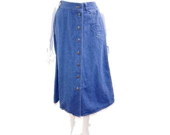 Vintage Napa Valley Denim Skirt// 80s Button Front Denim Skirt// Retro Denim Skirt// Size XS S// 153
