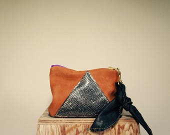 NEW///Brown Nubuck Leather and Shimmer Silver Lambskin Pouch with Black Lambskin Tie Wrist Strap//Wallet///Clutch