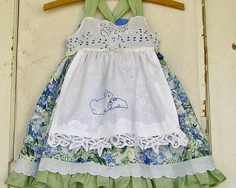 Girls Tea Party Dress Blues Vintage Floral Hand Embroidered Apron CUSTOMIZED Toddler Girls Reverse Knot Dress