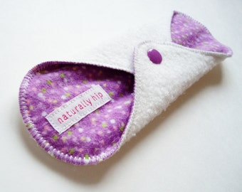 "8"" Organic Bamboo Fleece Regular Cloth Menstrual Pad, White Purple Dots, Incontinence Pad, Washable Reusable, Mama Cloth Moon Pad Canada"