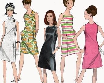 Vintage 1960s Mod Basic Little Black Shift Dress Sewing Pattern Vogue 1956 Easy to Make Madmen 60s Sewing Pattern Size 14 Bust 36