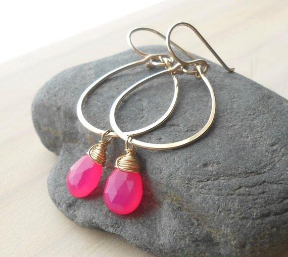 Gold Hoop Earrings with Hot Pink Stone Drops, Gold Filled Dangle Hoops