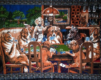 Vintage Dog Tapestry Dogs Playing Poker A Friend in Need by Cassius Marcellus Coolidge