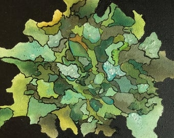 Original Oil Painting - Abstract Tree Lichen - 8x8 inch Gallery Wrapped Fine Art Painting, Green Lichen