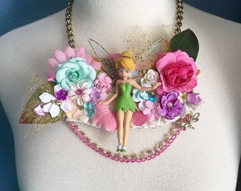 FREE US Shipping Tinkerbell Garden Floral Fairy Pixie Dust Bib Necklace