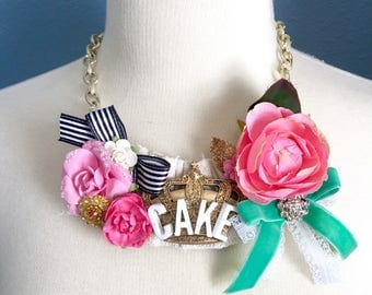 SALE Marie Antoinette Cake and Crown Floral Bib Statement Necklace