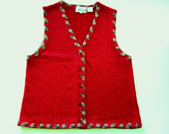Knitted Vest Red Vest Embellished Vest Charming Valentine's Day Vest Fun Red & Blue Plaid Colorful Women's Vest Gift for Her Cotton Clothing