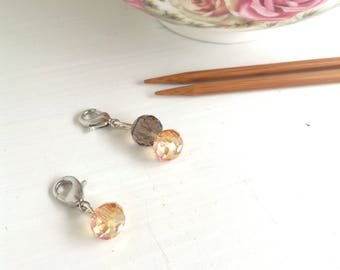 Stitch markers for knitting, yarn jewelry progress keepers, clip on charms knitting jewelry, knitting supplies, tangerine & taupe beads
