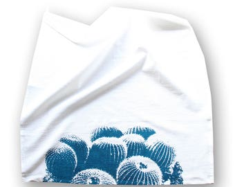 Barrel Cactus Dish Towel / Teal and White Desert Dish Towel / Southwest Style / Modern Desert Kitchen Decor