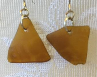 Brown clorox bottle tumbled glass dangle earrings TrAsH gLaSs beach glass jewelry