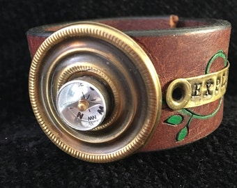 Explorer  Repurposed Leather Cuff Bracelet with vintage Compass