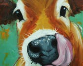 Cow painting 1133 12x16 inch original animal portrait oil painting by Roz