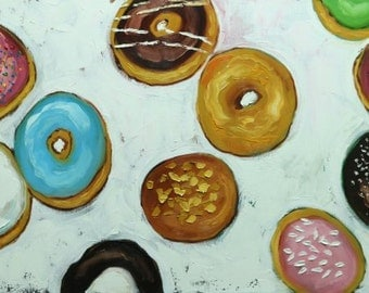 Donuts still life painting 43 18x36 inch original oil painting by Roz